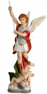 Copertina di 'Statua da esterno San Michele Arcangelo in materiale infrangibile dipinta a mano cm 70'