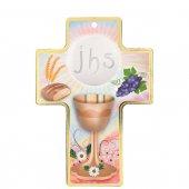 """Croce con lamina oro """"Calice e ostia"""" - altezza 13 cm"""