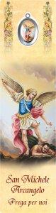 """Copertina di 'Segnalibro """"San Michele Arcangelo con medaglietta in polimero smaltata"""" - dimensioni 5x18 cm'"""