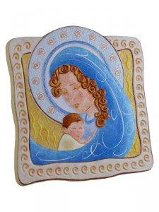 """Copertina di 'Icona """"Madonna con Gesù Bambino"""" per bambini - dimensioni 10,5x10 cm'"""