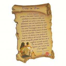 """Copertina di 'Quadretto a forma di pergamena con piedino da appoggio """"Vita in due"""" (10 x 7)'"""