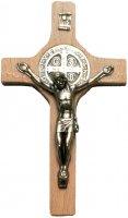Crocifisso San Benedetto in legno naturale con Cristo in metallo - 20 cm
