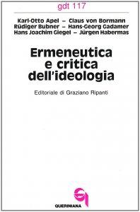 Copertina di 'Ermeneutica e critica dell'ideologia (gdt 117)'