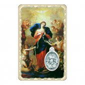 """Card """"Maria che scioglie i nodi"""" con preghiera e medaglia - (10 pezzi)"""