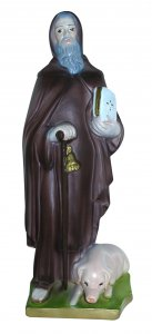Copertina di 'Statua Sant' Antonio Abate in gesso madreperlato dipinta a mano - 30 cm'