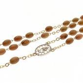Immagine di 'Corona in legno d'ulivo con grani ovali'
