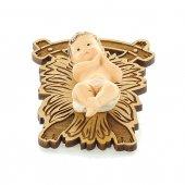 Gesù Bambino su greppia di legno - altezza 7 cm