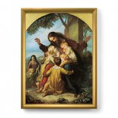 """Quadro """"Gesù con i bambini"""" con lamina oro e cornice dorata"""
