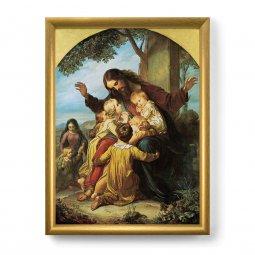 """Copertina di 'Quadro """"Gesù con i bambini"""" con lamina oro e cornice dorata - dimensioni 44x34 cm'"""