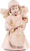 Statuina dell'angioletto con violoncello, linea da 10 cm, in legno naturale, collezione Angeli Sissi - Demetz Deur