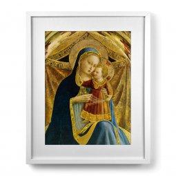 """Copertina di 'Quadro """"Madonna col Bambino"""" con passe-partout e cornice minimal - dimensioni 53x43 cm'"""