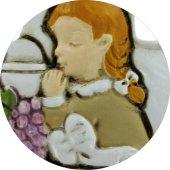 Immagine di 'Bomboniera comunione croce per bambina in resina cm 8,5 bianca'