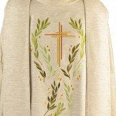 Immagine di 'Casula avorio con ramoscelli di ulivo e croce ricamati'