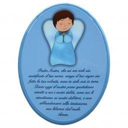 """Copertina di 'Icona ovale azzurra """"Padre Nostro"""" per bambini - dimensioni 15x21 cm'"""