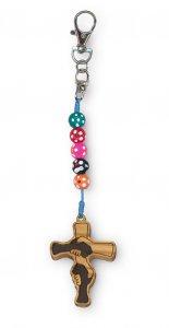 """Copertina di 'Portachiave """"Croce dell'amicizia"""" in legno e corda colorata'"""