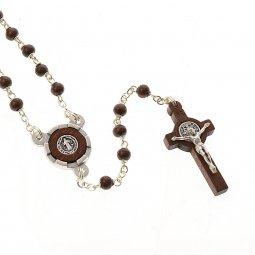Copertina di 'Collana rosario in legno nero con croce di San Benedetto - grani tondi 3 mm'