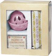 Confezione brucia incenso rosa alla fragranza di nardo con kit di carboni liturgici
