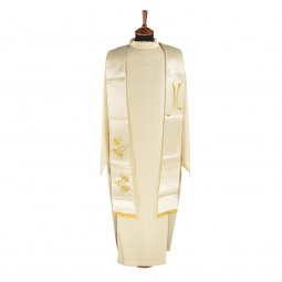 Copertina di 'Stola mariana in raso con monogramma mariano e rose ricamate con filo dorato'