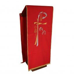 Copertina di 'Coprileggio rosso con frangia e Cristogramma ricamato in oro e argento'