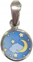 Medaglia tonda porcellana/argento 925 luna e stelle cm 1