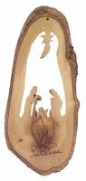 Natività stilizzata in corteccia d'ulivo - altezza 16 cm