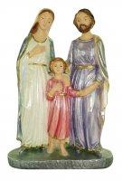 Statua Sacra Famiglia in gesso madreperlato dipinta a mano - 20 cm