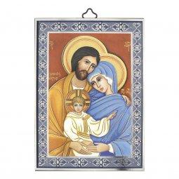 """Copertina di 'Icona con cornice azzurra """"Famiglia di Nazareth"""" - dimensioni 14x10 cm'"""
