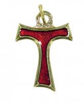 Croce tau in metallo dorato con smalto rosso - 2 cm