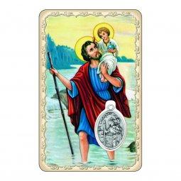 """Copertina di 'Card """"San Cristoforo"""" con preghiera e medaglia - (10 pezzi)'"""