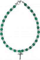 Braccialetto in smeraldite con dadini in argento e croce Tau - linea mater
