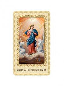 """Copertina di 'Immaginetta plastificata con preghiera """"Maria che scioglie i nodi"""" - dimensioni 6x10 cm'"""