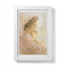 """Copertina di 'Quadretto """"Madonna col Bambino"""" rosa moderna con passe-partout e cornice minimal - dimensioni 15x10 cm'"""