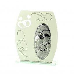 """Copertina di 'Icona da appoggio in vetro e argento """"Sacra Famiglia"""" - dimensioni 16x13 cm'"""