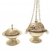 Turibolo e navicella nichelati a forma sferica con decoro a croci traforate - altezza 14 cm