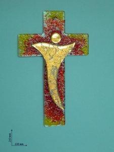 Copertina di 'Croce colorata in vetro e sagoma con linee curve - altezza 21 cm'