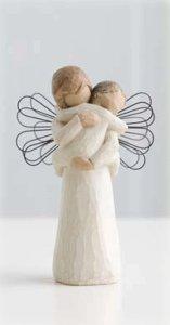"""Copertina di 'Statua in resina """"Angelo con bambino in braccio"""" - altezza 14 cm'"""
