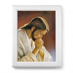 """Copertina di 'Quadro """"Cristo orante"""" di Parisi con lamina oro e cornice con decorazione a sbalzo'"""