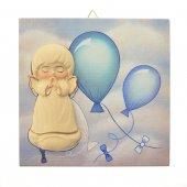 Quadretto in legno blu con palloncini e angelo in rilievo - dimensioni 14x14 cm