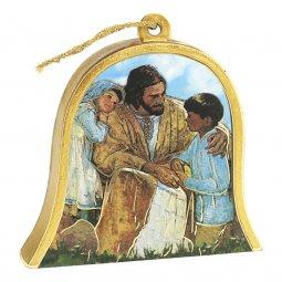 """Copertina di 'Icona in legno a campana """"Gesù con i bambini"""" - dimensioni 10x11 cm'"""