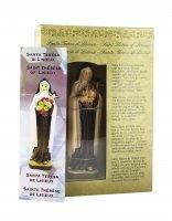 Immagine di 'Statua di Santa Teresa di Lisieux da 12 cm in confezione regalo con segnalibro in IT/EN/ES/FR'