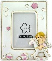 Portafoto in resina angelo dondolo rosa - 12 x 9,5 cm