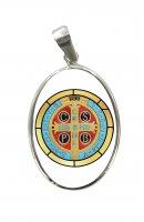 Medaglia Croce di San Benedetto ovale in argento 925 e porcellana - 3 cm