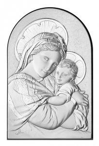 Copertina di 'Quadro Madonna con Bambino a forma di arco con lastra in argento - Bassorilievo - 12 x 8 cm'