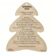 Immagine di 'Alberello in PVC da appendere con Natività e preghiera sul retro - dimensioni 11x9 cm'