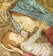 Immagine di 'Quadro Madonna con Bambino quadrato in resina dipinta a mano - Bassorilievo - 18 x 18 cm'