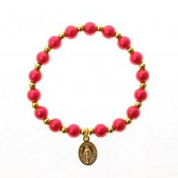 Copertina di 'Bracciale rosario elasticizzato color rosso e oro - grani tondi 7 mm'