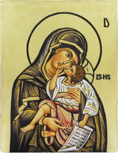 Copertina di 'IconaMadonna con Bambino dipinta a mano su legno con fondo orocm 13x16'