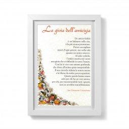 """Copertina di 'Quadretto preghiera """"La gioia dell'amicizia"""" con passe-partout e cornice minimal'"""