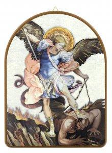 Copertina di 'Tavola San Michele stampa su legno ad arco - 15 x 20 cm'