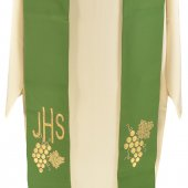 Immagine di 'Stola verde con grappolo d'uva e cristogramma IHS ricamati'